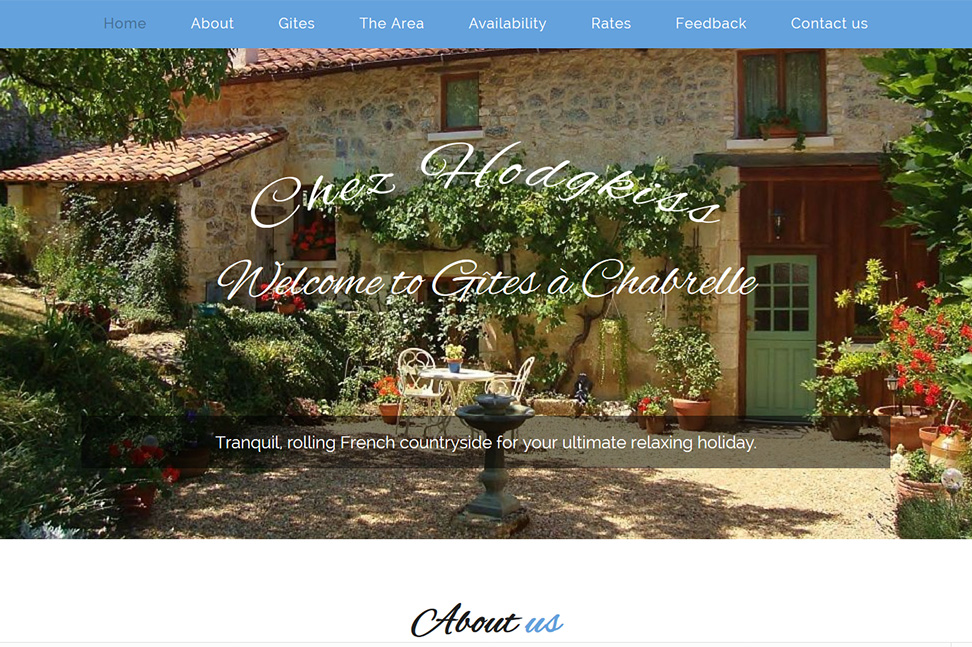 Chez Hodgkiss Website Homepage